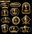trophy retro golden badges colllection vector image vector image