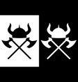 viking helmet and axes icon vector image