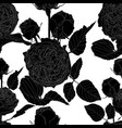 vintage seamless pattern with black line roses vector image