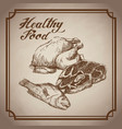 hand drawn chicken fish beef healthy food products vector image