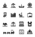 black icon set of amusement park carousel and vector image