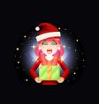 christmas female cute woman cartoon surprised girl vector image