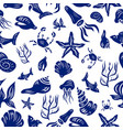 marine life seamless pattern vector image
