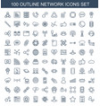 100 network icons vector image vector image