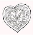 a pair beautiful unicorns with a long mane vector image vector image