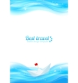 Abstract realistic water with paper boat vector image vector image