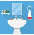 bathroom with wash stand and mirror vector image vector image