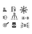 bitcoin icon set cryptocurrency extraction and vector image vector image
