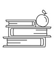 books and apple icon outline style vector image vector image