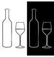 bottle and glass wine sketch vector image