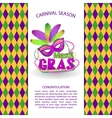 Bright carnival icons and sign Mardi Gras vector image