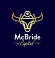 buffalo head gold outline logo design vector image vector image