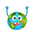 cartoon frightened earth planet emoji raising vector image vector image