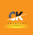 ck c k letter modern logo design with yellow vector image vector image