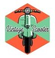Color vintage scooter emblem vector image