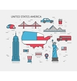 Country USA travel vacation guide of goods places vector image vector image