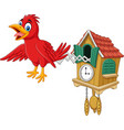 cuckoo clock with red bird chirping vector image