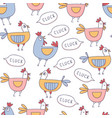cute cartoon rooster seamless pattern doodle style vector image vector image