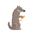 cute cartoon wolf holding a toothbrush and a vector image vector image