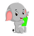 cute elephant reading a book vector image vector image