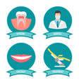 dental icons with doctor smile teeth vector image