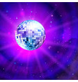 disco ball on outer space background vector image vector image