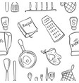 doodle of kitchen set pattern style vector image vector image