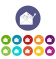 Envellope with graph set icons vector image vector image