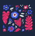 flowers and leaves hand drawn vector image