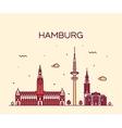 Hamburg skyline linear style vector image vector image
