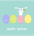happy easter bunny rabbit with carrot sitting on vector image