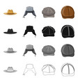 headgear and cap icon set vector image vector image