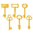 Keys gold cartoon Isolated on vector image