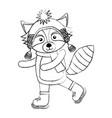line icon christmas raccoon cartoon vector image vector image