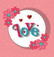 love circular lace with flowers and hearts vector image