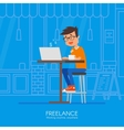 Male freelancer working remotely from his desk vector image
