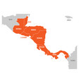 map of central america region with red highlighted vector image vector image
