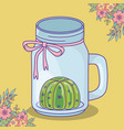 mason jar with cactus flowers and bow decoration vector image vector image