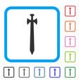 medieval sword framed icon vector image vector image