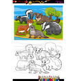 mustelids animals cartoon coloring book vector image vector image