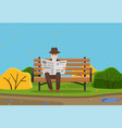 old man sitting on a bench and reading a newspaper vector image