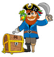 pirate with old treasure chest vector image vector image