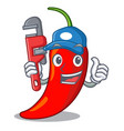 plumber red chili pepper isolated on mascot vector image vector image
