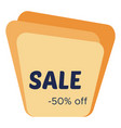 sale sticker with abstract yellow geometric forms vector image vector image
