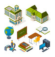 school and education isometric back to school 3d vector image vector image