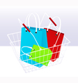 Shopping chart and bags vector image vector image