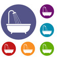 shower icons set vector image vector image