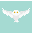 Snowy white owl Flying bird with big wings vector image