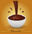 splash of brown hot chocolate in white bowl vector image vector image