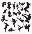 street dance silhouettes vector image